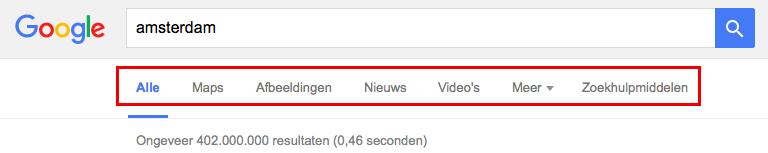meer zoeken in google