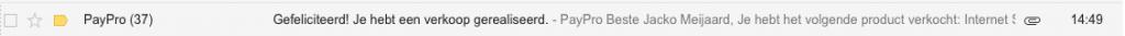 Vandaag (tot 17:02 uur) 37 verkopen via PayPro.