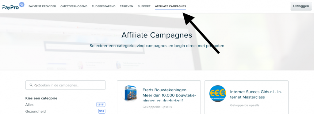 paypro affiliate campagne overzicht