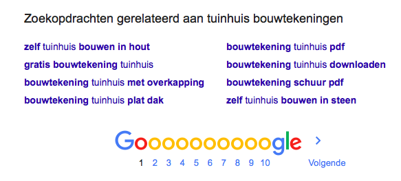 Relevante zoekopdrachten in Google
