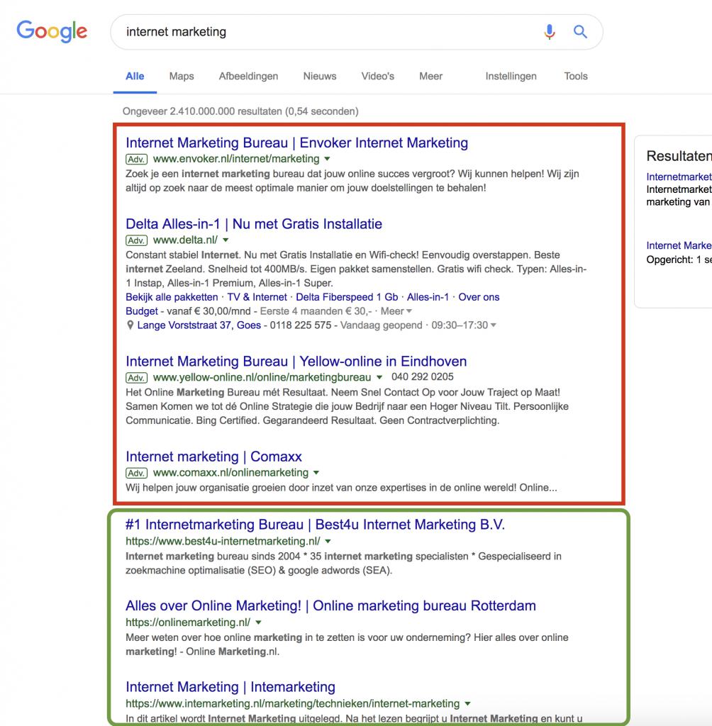 organische bezoekers Google