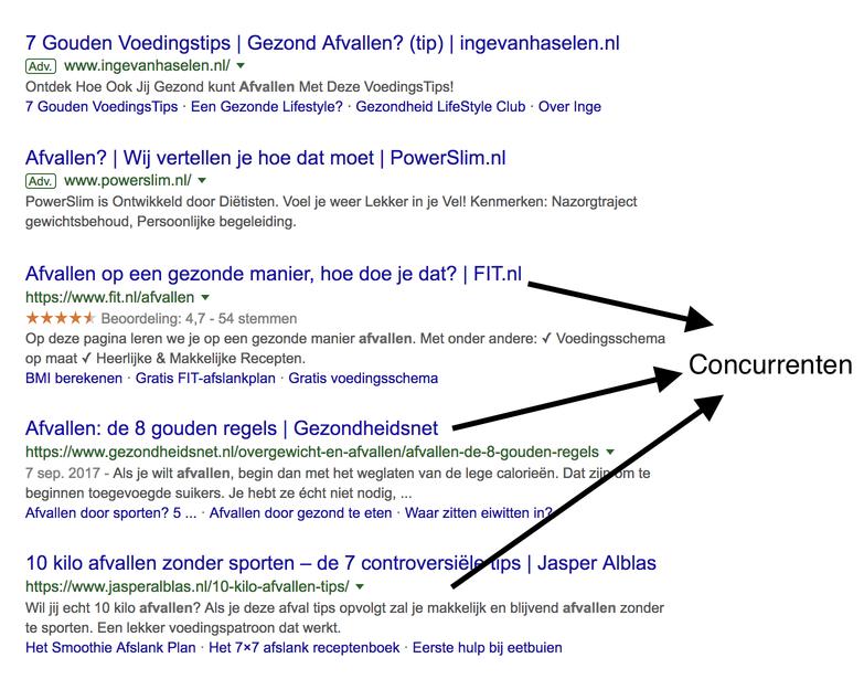 concurrenten in Google