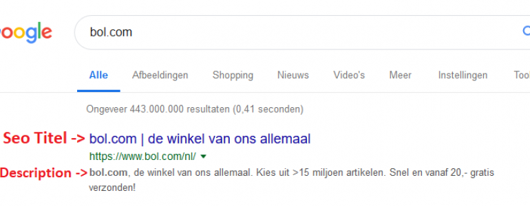 seo titel en meta omschrijving in Google